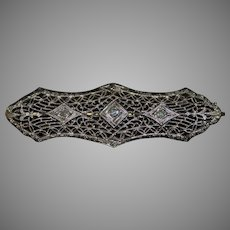 Victorian Era 10K White Gold Filigree Bar Pin with Diamond Accents