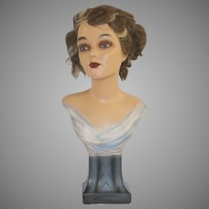 Art Deco Hand Painted Chalkware Woman's Bust on a Pedestal