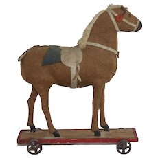 Antique German Pull Toy Horse on Wood Platform with Cast Iron Wheels