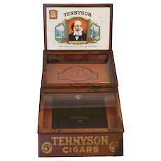 Antique Tennyson Cigars Tin Lithographed Store Humidor\Display Case
