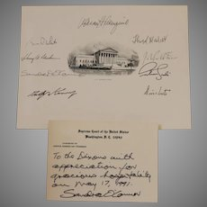 Supreme Court Memorabilia From Sandra Day O'Conner and Signed By All Nine Justices