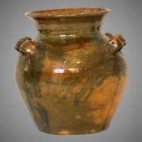 Antique Manganese Decorated Redware Pot with Applied Handles