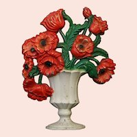Hubley #440 Cast Iron Doorstop Red Poppies in a White Urn