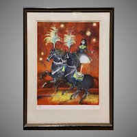 Framed Pierre Jacquot Signed and Numbered Stone Lithograph