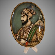 19th Century Miniature Painting Depicting Mughal Emperor Shah Jahan