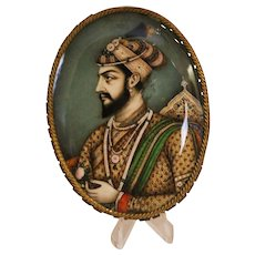 19th Century Miniature Painting Depicting Mughal Emperor Shah Jahan