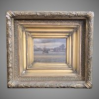"""Late 19th Century Framed Oil Painting Titled """"On the Delaware"""" by Flaherty"""