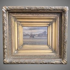 "Late 19th Century Framed Oil Painting Titled ""On the Delaware"" by Flaherty"
