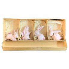 Vintage Metzler & Ortloff German Porcelain Set of Four Pink Bunny Rabbits