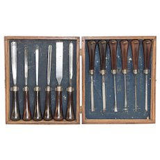 Miller Falls Company Carving Tool Set #3 in Custom Wooden Box and Rosewood Handle Tools