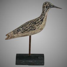 Antique Hand Carved and Painted Willet Decoy