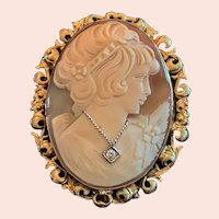 Antique 14k Gold Carved Shell Diamond Habille Cameo