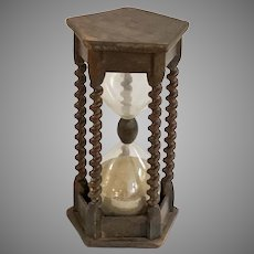 Antique 19th Century Wood Hourglass Sand Timer