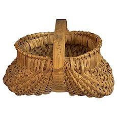 Antique Miniature Woven Buttocks Basket Inscribed Asbury Park NJ 1901