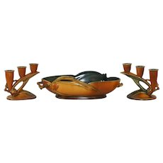 Roseville Brown Pinecone Set with Console Bowl and Pair of Triple Candle Holders