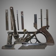 Early 1867 Patent Phillips Plough Plane with Eight Cutters