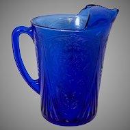 Hazel Atlas 48 Oz. Ritz Blue Royal Lace Depression Glass Pitcher