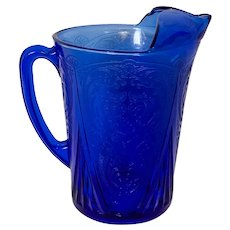 Hazel Atlas 48 Oz. Ritz Blue Royal Lace Depression Glass Pitcher