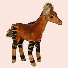 Vintage Steiff Medium 28 CM Plush Okapi Zebra Giraffe