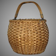 Hand Woven Wood Splint Gathering Basket with a Shaped Swing Handle