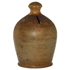 Antique Hand Thrown Stoneware Jug Bank