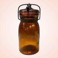 Unusual Antique Amber One Pint Hemingray Globe Canning Jar