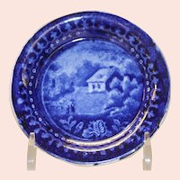 Antique Blue Staffordshire Transferware Cup Plate, Circa 1820