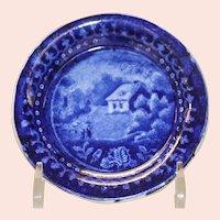 Antique Blue Staffordshire Transferware Cup Plate, Circa 1820