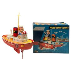 Mid Century Shoten AHI Tin Non-Stop Toy Boat with Original Box
