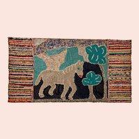 Early 20th Century New England Folk Art Hooked Rug
