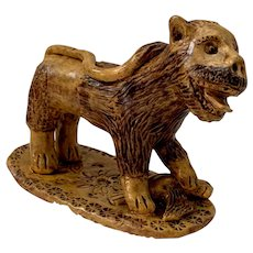 Exceptionally Rare Antique Pennsylvania Hand Sculpted Redware Lion on Prey Figural