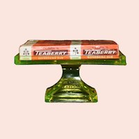 1920's Era Vaseline Glass Clark's Teaberry Gum Display