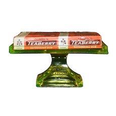 1920's Era Vaseline Glass Clark's Teaberry Gum Display