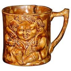 """E & W Bennett """"Rockingham"""" Glazed Figural Shaving Mug Ca 1853"""