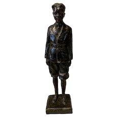 """Max Kalish Bronze Sculpture """"School Boy"""" Cast by Gorham Foundry"""