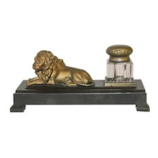 Vintage Desktop Inkwell Featuring a Resting Lion on a Bakelite Base
