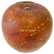 Antique Redware Wheel Thrown Apple Bank
