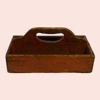 Antique Primitive Two Section Cutlery Box in Original Red Paint