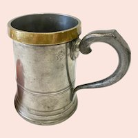 Antique English Brass and Pewter Quart Tavern Mug