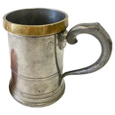 Antique English Brass and Pewter Quart Tavern Mug