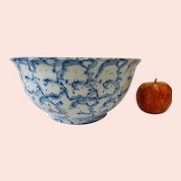 Antique Earthenware Bowl With Blue Spongeware Decoration