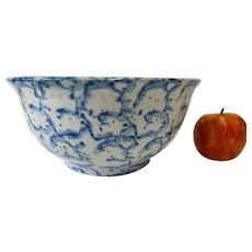 Antique Earthenware Bowl With Blue Spongeware Decoration