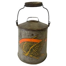 Antique Tin Lidded Pail with Eagle Transfer Decoration Bail and Wooden Handle
