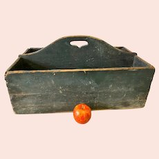 Antique Cutlery Carrier with Drawer in Original Green Paint