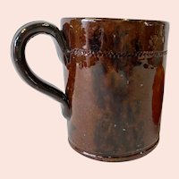 Antique Handmade Manganese Decorated Redware Handled Cup