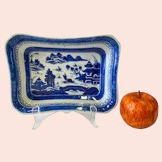 Antique Canton Chinese Export Hand Decorated Rectangular Dish