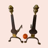 Ca. 1780 American Wrought Iron Knife Blade Andirons with Brass Finials