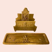 Antique Bronze Dartmoor Pixie Letter Holder and Pen Tray Desk Set