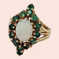 Vintage 14K Yellow Gold Opal and Emerald Cocktail Ring