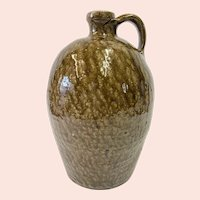 Antique Southern Stoneware Jug with Tobacco Spit Decoration
